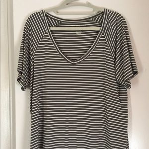 Olive and white striped shirt sleeve tee, stretchy